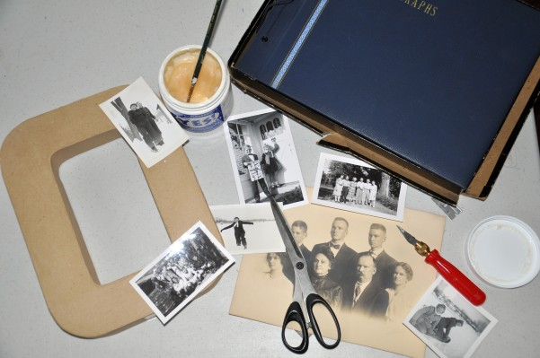 diy photo initials, crafts, home decor, This project would work well with old family photos also Don t forget to make lots of copies before you start cutting