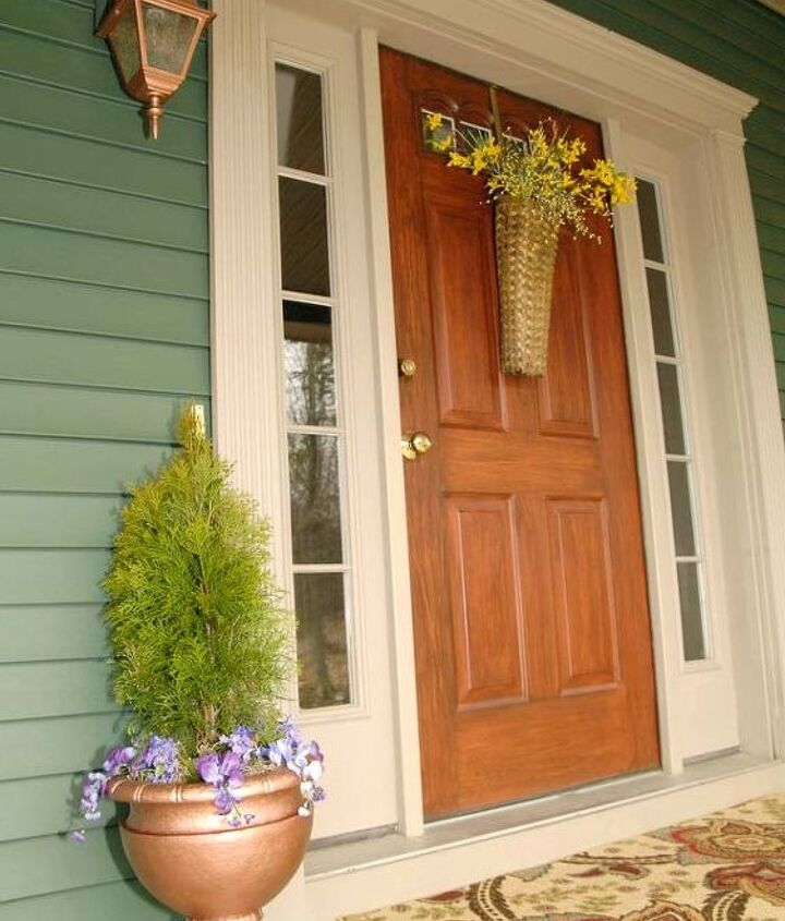 spring front porch decor plus a thrifty flower pot redo, curb appeal, flowers, gardening, outdoor living, porches