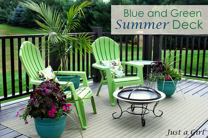 Amazing what some colorful furniture and container gardening will do! http://justagirlblog.com/deck-decor-lowes-creative-ideas/