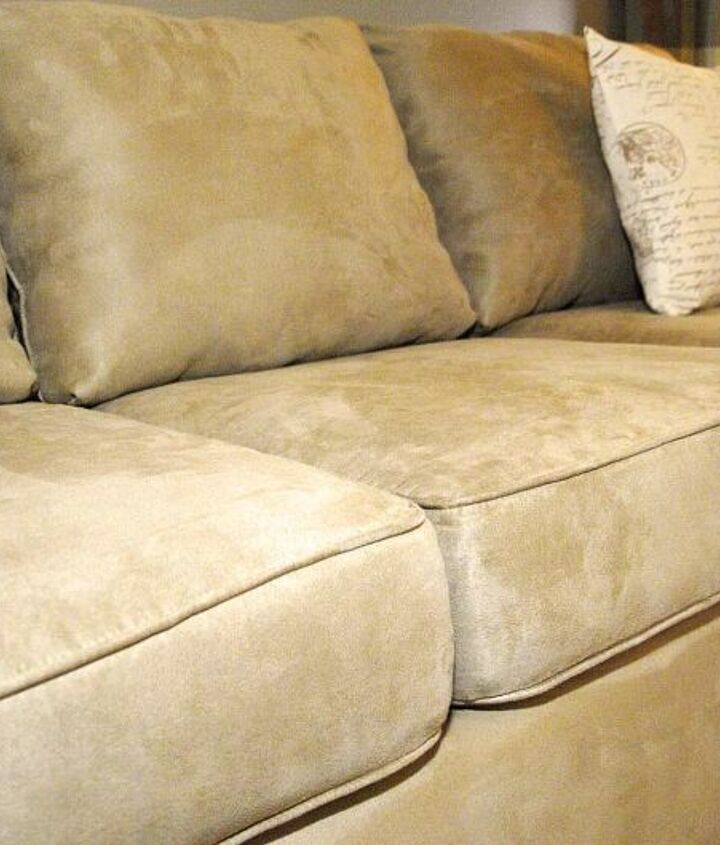 how to make an old couch new again for 10, painted furniture, I put the covers back on the new beefed up cushions and now my couch looks as good as new