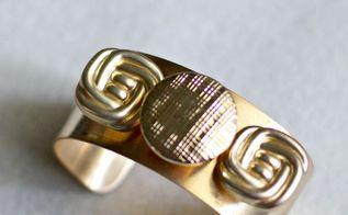 diy gold cuff button bracelet tutorial, crafts