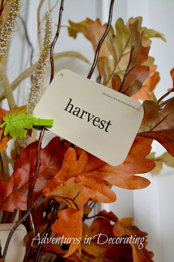 These simple Fall cards I've had for a few years pop up all over our house this time of year ... mini leaf clothespins make them easy to attach to a few branches!