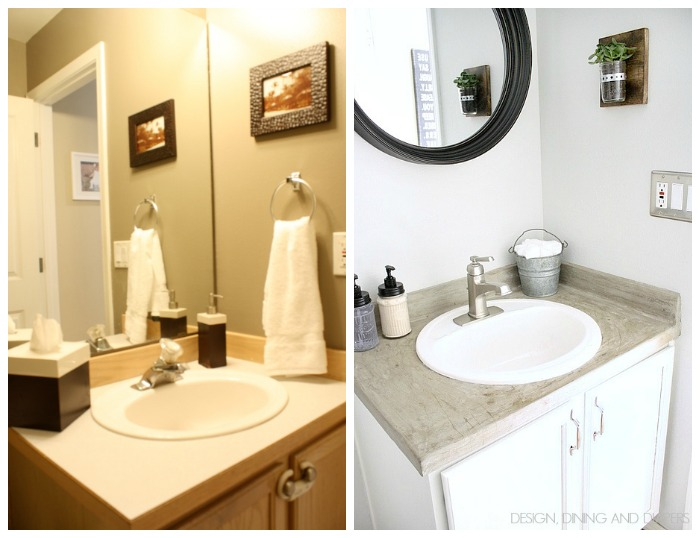 budget powder room makeover, bathroom ideas, home decor, lighting, painting, storage ideas, tiling