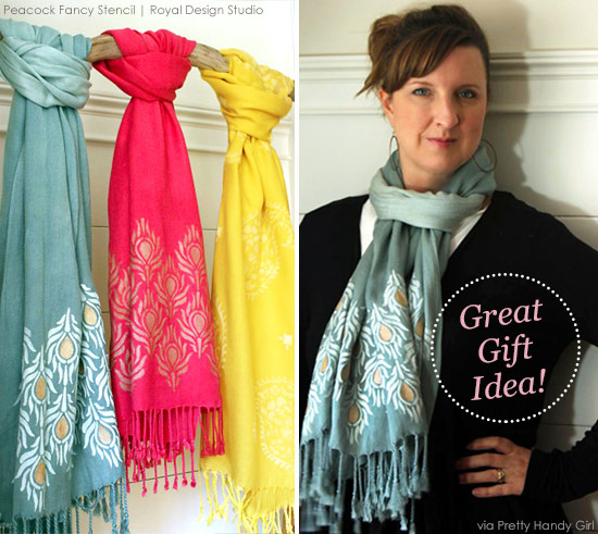 Stenciled scarves are so beautiful! http://www.royaldesignstudio.com/blogs/stencil-ideas/10301865-a-pretty-handy-girl-stencils-stylish-scarves-for-holiday-gifts