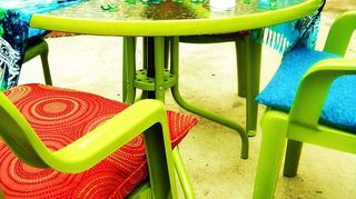 awesome spray paint colors, outdoor furniture, outdoor living, painted furniture, And the after Spray painted the chairs pillows from consignment shops and also made new fabric covers
