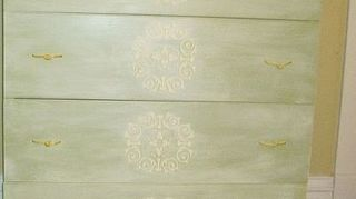 raised fern stencil livens up a boring desk area, kitchen cabinets, painted furniture, shelving ideas