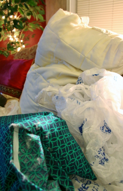 Stuff the pillow. Use cotton in the edges and on the outside. Use plastic bags for everything else.