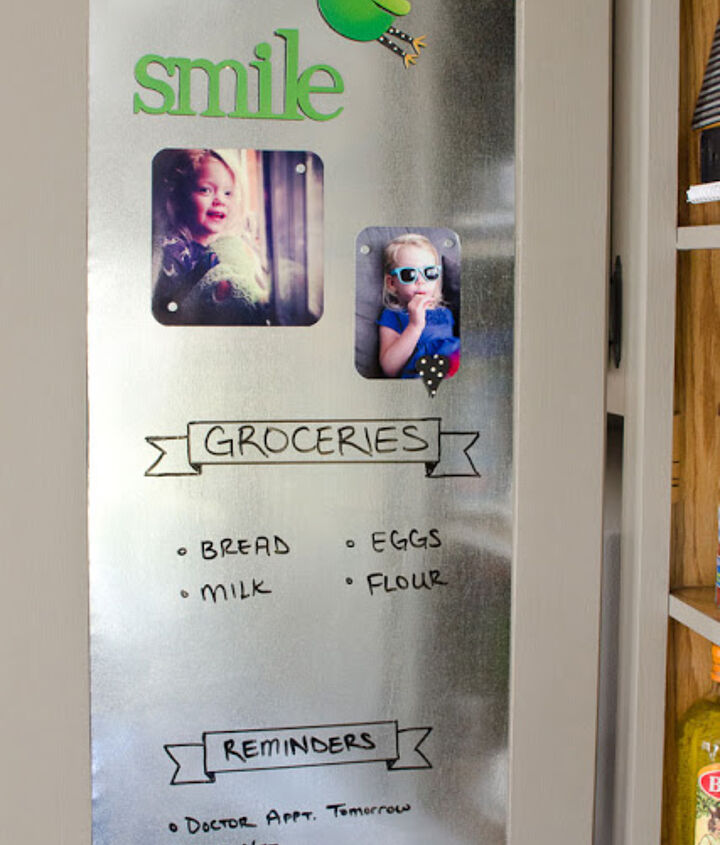 Sheet metal used inside cupboard to keep track of groceries and reminders