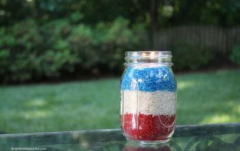 red white and blue votives fourth of july, crafts, mason jars, patriotic decor ideas, seasonal holiday decor