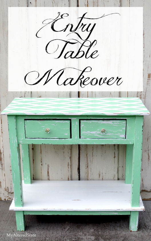 entry table makeover, painted furniture