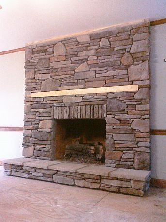 manufactured stone veneer that i installed in dry stack over a drab