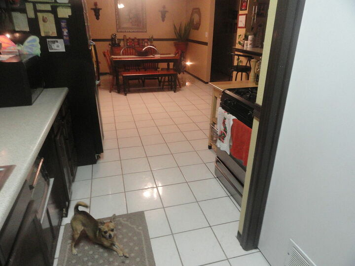 my kitchen and dining room with my never ending white tile.