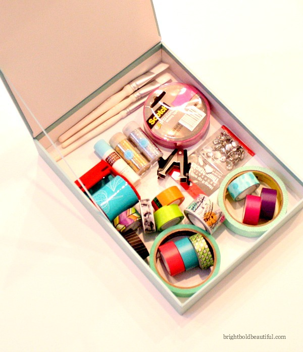 Organize your shipping and craft supplies.. Keep your glitter, stickers and stamps, washi tape, stick glue and other craft supplies in a designated box and label.