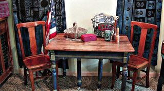 the anything blue friday features ahmazing, home decor, A front view of the table and two chairs I was feeling patriotic the day I took this shot