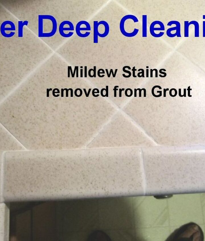 I used the same combo of Barkeeper's Best Friend and Bleach on the adjacent tile and grout to remove the mildew stains.