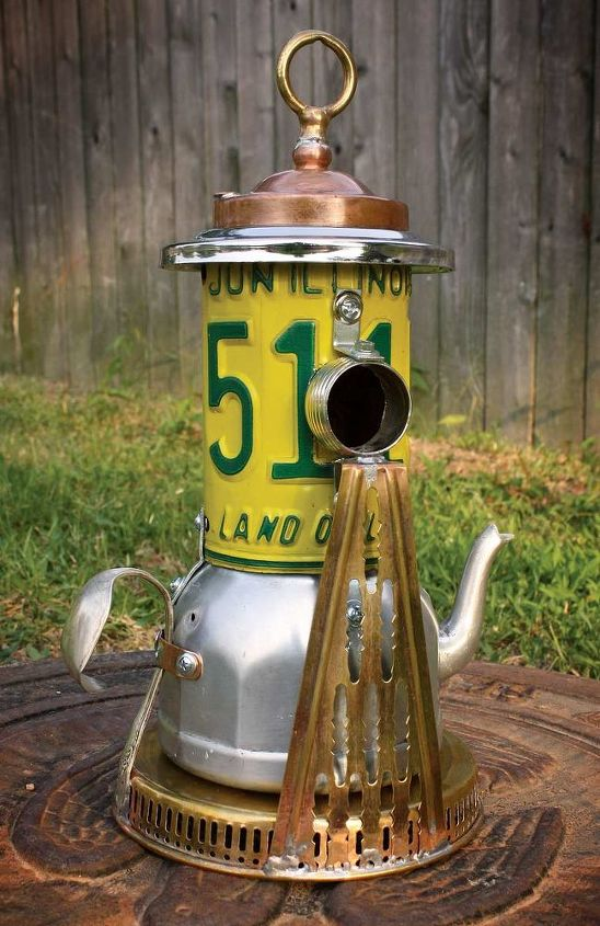 Yellow & Green License Plate Lighthouse Pedestal Repurposed Upcycled Metal Birdhouse