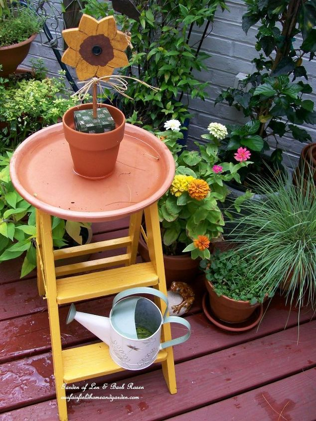 Diy ~ Step Stool Birdbath provides water ~  see the post http://ourfairfieldhomeandgarden.com/diy-project-another-birdbath/