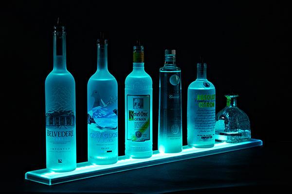 one step led lighted liquor bottle display shelves, entertainment rec rooms, lighting, painted furniture, shelving ideas, Liquor Shelves Standard width LED illuminated Liquor Shelves