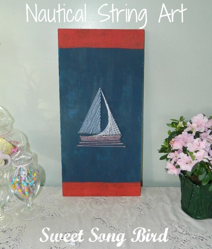 nautical string art, crafts, Various String Art patterns including this sailboat can be found at