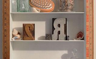 medicine cabinet makeover using vintage yard sticks, home decor, kitchen cabinets