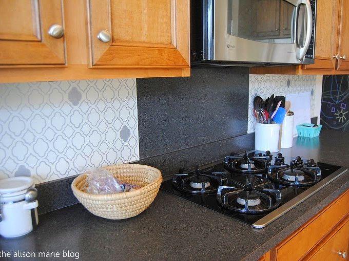 stenciling a moroccan kitchen backsplash, home decor, kitchen backsplash, kitchen design, painting, wall decor