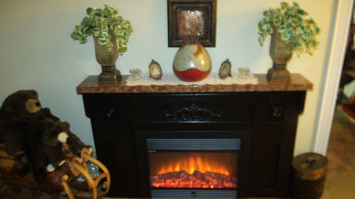custom made fireplace with faux granite top, fireplaces mantels, home decor
