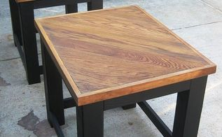 over sized coffee table and end tables made from re purposed old oak flooring, painted furniture, repurposing upcycling