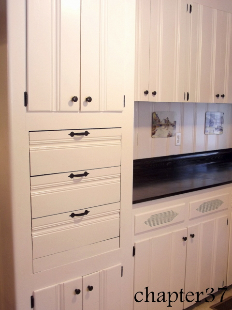 use odd empty space by installing drawers, home improvement, home maintenance repairs, kitchen cabinets, kitchen design, three deep drawers give tons of needed storage space