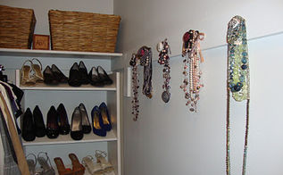 walk in master bedroom closet, cleaning tips, closet, organizing, Built in shoe organizer with knob jewelry organization