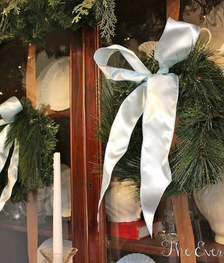 no mantel use a hutch to create a christmas vignette our english hutch in silver, christmas decorations, seasonal holiday decor, wreaths