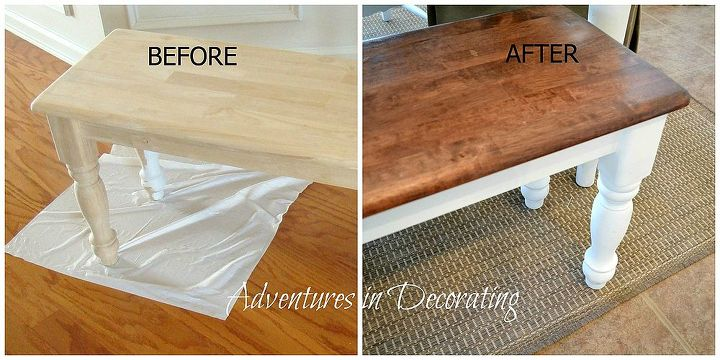 """I bought it """"au naturale"""" and then painted the legs and frame Annie Sloane's """"Pure White"""" and then stained the top with Minwax Dark Walnut and Red Oak."""