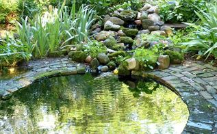 making an inexpensive garden pond, outdoor living, perennial, ponds water features, This is a recent favorite photo showing the little stream with three waterfalls that flows into the garden pond
