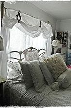 white bedroom, bedroom ideas, home decor, sheer valance adds softness