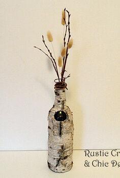 birch bark wine bottle vase, crafts, repurposing upcycling