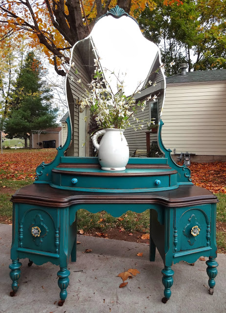 refinished antique vanity in teal, painted furniture - Refinished Antique Vanity In Teal Hometalk
