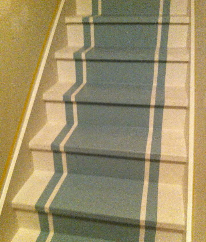 Stairs with stripes in SW 6213 Halcyon Green and 7035 Aesthetic White