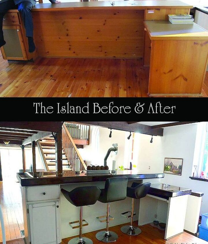 The back of the island before and after shabberization!