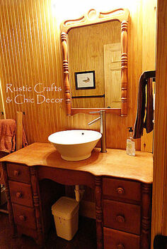 budget cabin diy bathroom vanity, home decor, plumbing