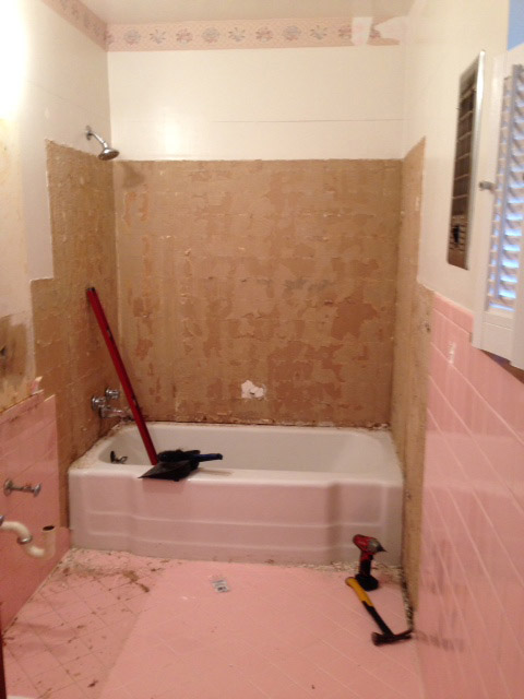 q how do i remove the adhesive from 1950 s pink wall tiles, bathroom ideas, diy, home maintenance repairs, how to, tiling