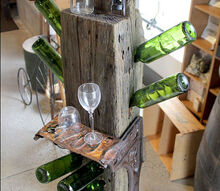 salvaged industrial wine caddy, painted furniture, woodworking projects, The final product A tad heavy but when it comes to making sure it s stable for the weight of the bottles the legs and weight of the piece itself are perfect