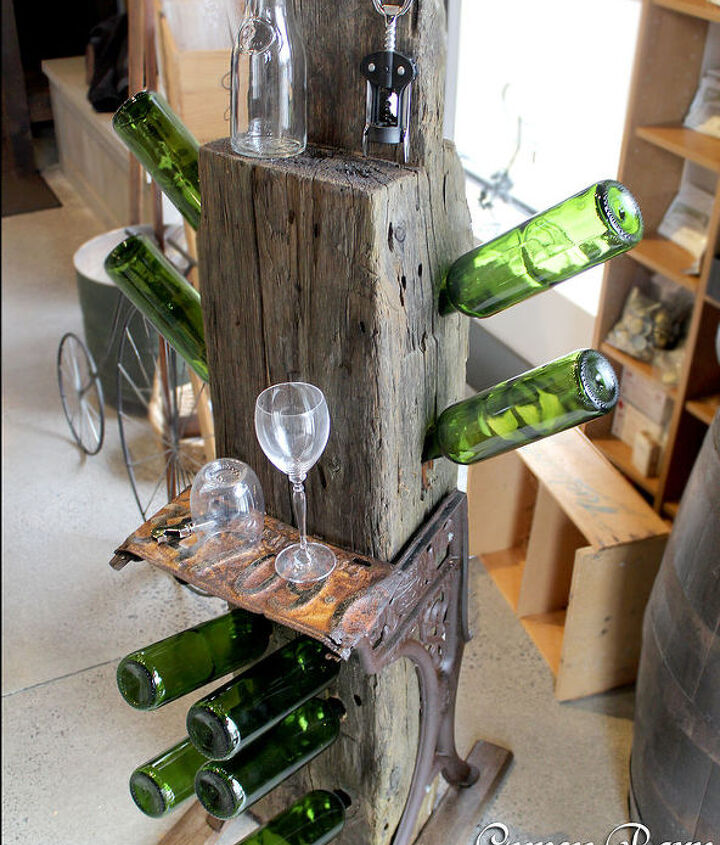 The final product. A tad heavy, but when it comes to making sure it's stable for the weight of the bottles, the legs and weight of the piece itself are perfect!