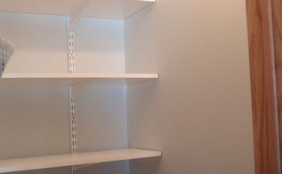 coat closet made into a simple walkin pantry, closet, storage ideas, Back shelfing view Hard to even see the color of paint Looking great so far