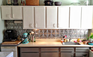 faux tin ceiling tiles to the rescue, kitchen backsplash, kitchen design, tiling, wall decor, The apartment kitchen backsplash got a quick and affordable new look