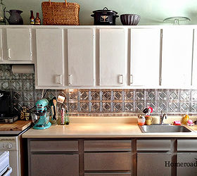 faux tin ceiling tiles to the rescue kitchen backsplash kitchen design tiling