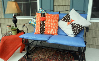 super easy method to cover outdoor cushions, outdoor furniture, outdoor living, painted furniture, repurposing upcycling, reupholster, With a couple yards of outdoor fabric and a short amount of time I made two new covers to update our porch furniture