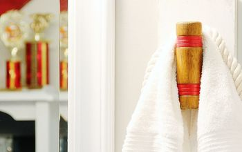 looking for a fun idea for a diy hook, repurposing upcycling, Croquet Mallet Hook on display in the upstairs bathroom Perfect size for holding towels