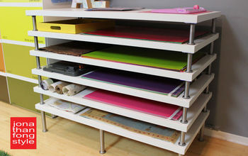 flat file storage made with ikea tabletops, craft rooms, diy, storage ideas, It was as easy as that and more affordable than buying a traditional flat file cabinet I also love that it s a comfortable height so I can work at this table standing up
