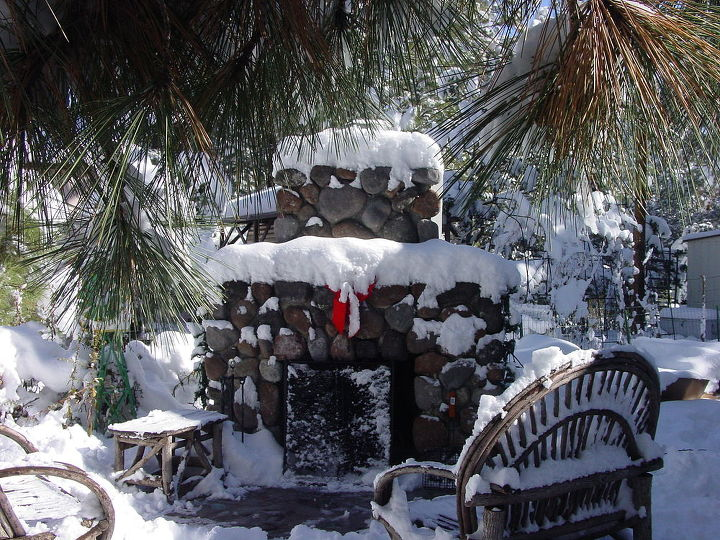 repurposing, fireplaces mantels, outdoor living, repurposing upcycling, Our outdoor fireplace at our cabin in the mountains of Arizona We built it ourselves using an old insert discarded by a neighbor