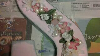 q what can i do with all these, crafts, repurposing upcycling, I painted it the colors of her room with acrylic paints then added vintage buttons silk flowers and I distressed the edges with a silver distress ink It gave the letter a vintage look
