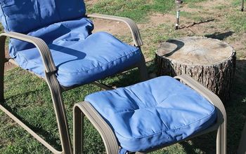 painting the cushions for my lawn chairs, chalk paint, painted furniture, Finished results Two coats of paint